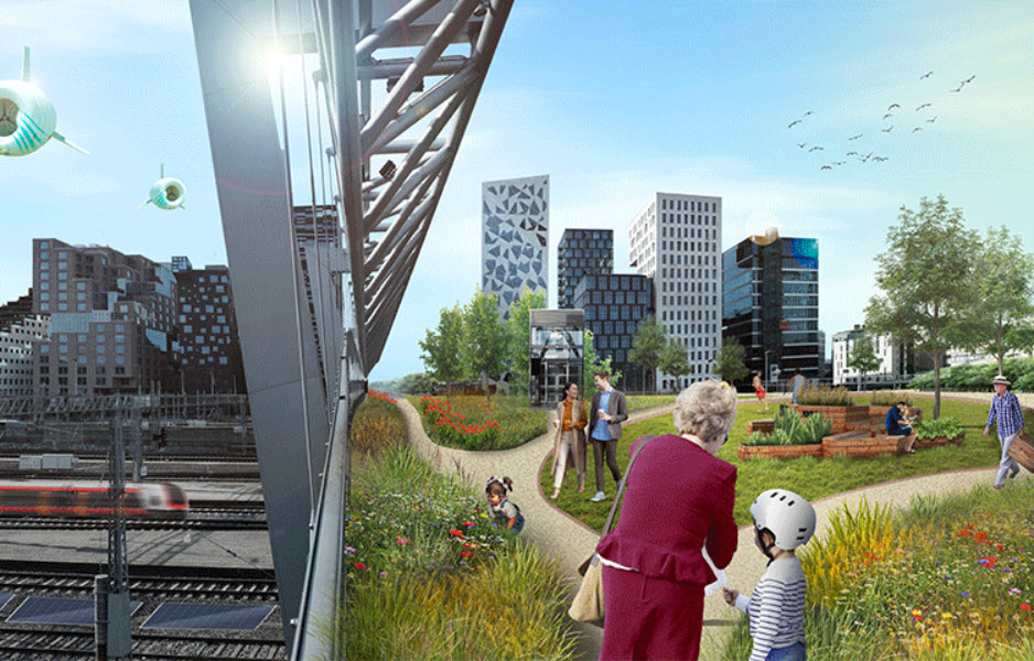 Illustration Students envision a potential use of environment on top of the railway tracks