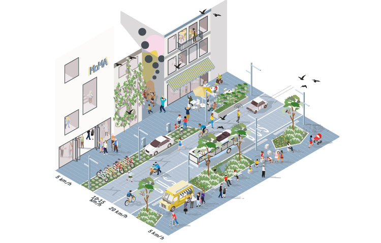 Redistrbuted street space for increased social interaction, 2021. Illustration by Tom Uyttendaele, Sweco