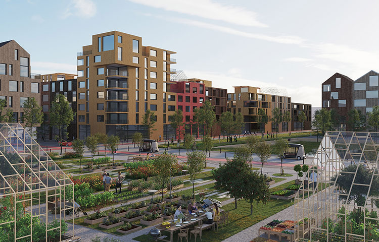 """Kirschgelände, Munchen by Tovatt Architects, part of Sweco. The transit-oriented development on the outskirts of Munich, named """"City of Wood"""", provides high performance in sustainable living. Immediate access to the S-Bahn stimulates reduced car use and ownership."""