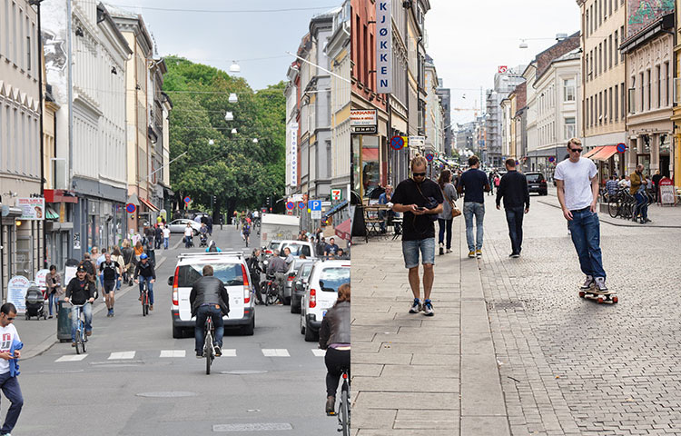 Street design in Torggata,Oslo, with the aim of providing welcoming space. The lowered kerbstone and the chicanes create a blurring or integration between mobility and informal meeting. Oslo, Norway, Sweco